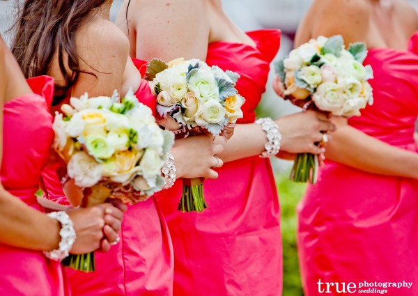 San Diego Wedding with bright pink bridesmiads dresses and bouquets by Embellishments Floral and Event Design