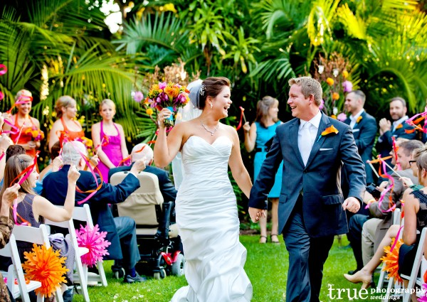 Bride and Groom walking down the aisle at Paradise Point Wedding with Ever After Events