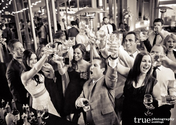 Cheers at Scripps Seaside Forum Wedding with I Do Weddings
