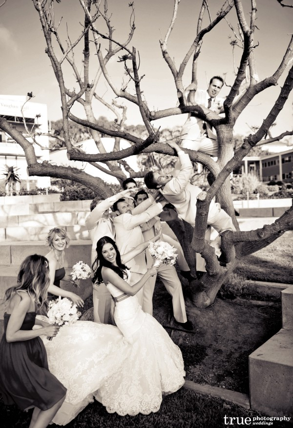 Great wedding party photos at Scripps Seaside Forum wedding with I Do Weddings