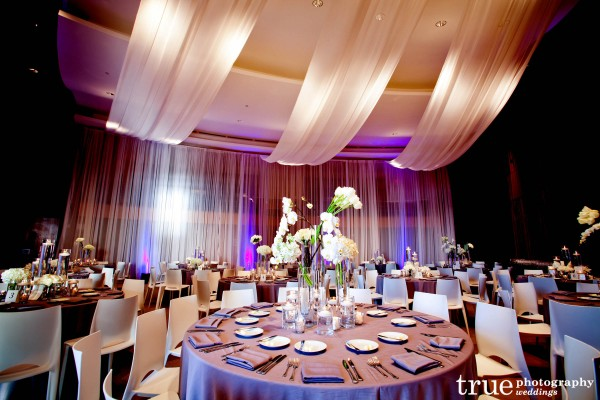 Indoor sheer draping at Scripps Seaside Forum wedding with I Do Weddings