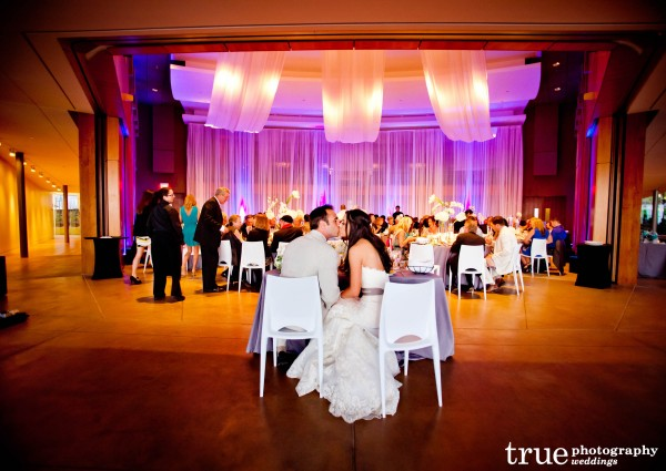 Modern wedding reception at the Scripps Seaside Forum with I Do Weddings