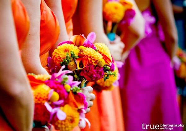 Bright Colored Bridesmaids Dresses at Paradise Point Wedding with Ever After Events