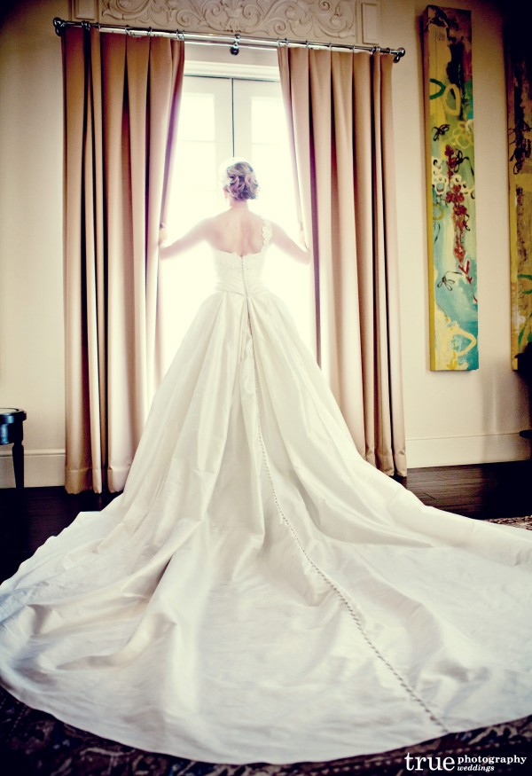 Long wedding gown train at US Grant Wedding with Swell Beauty and True Photography