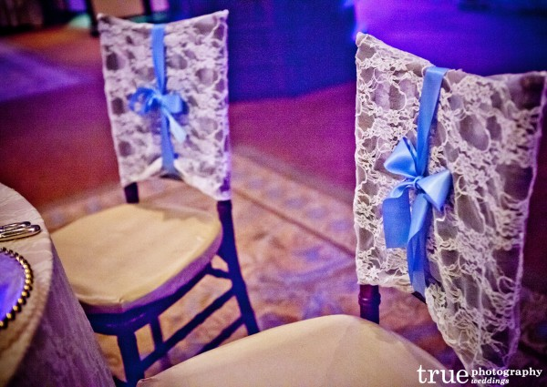 Lace Signs for Back of Bride and Groom Chairs by Lavender Paperie