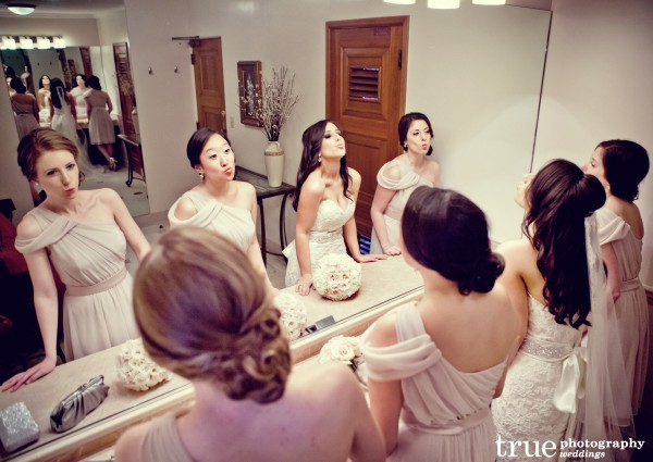 Bridesmaids getting ready for wedding in San Diego