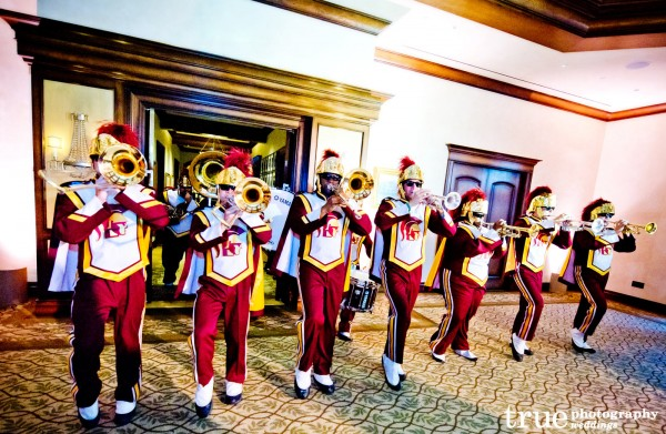 Adventurous-Wedding-Photos-USC-marching-band-at-wedding