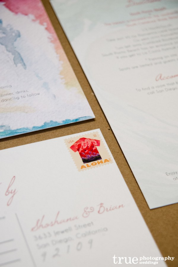 Watercolor Beach Wedding Invitations San Diego ALFIE
