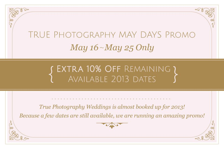Details of 2013 wedding photography special offer