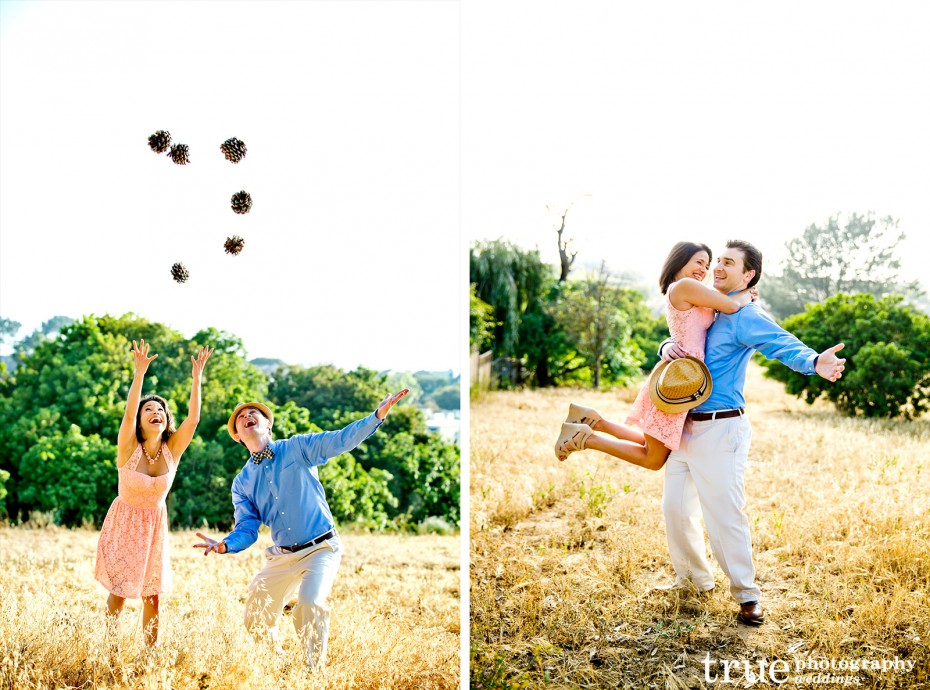 Springtime-engagement-shoot-with-fedora-in-a-field