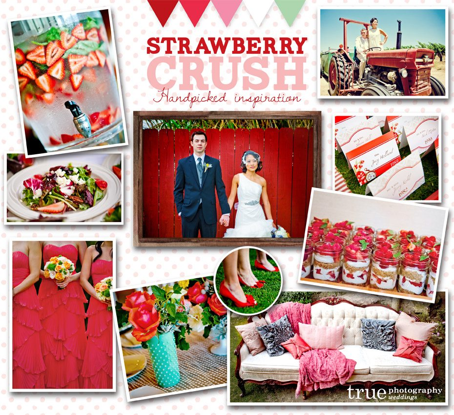 Strawberry themed wedding inspiration board