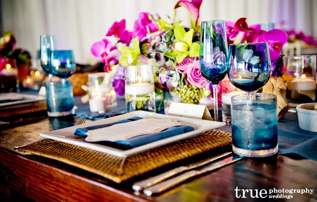 Colored-Glassware-for-San-Diego-Wedding-