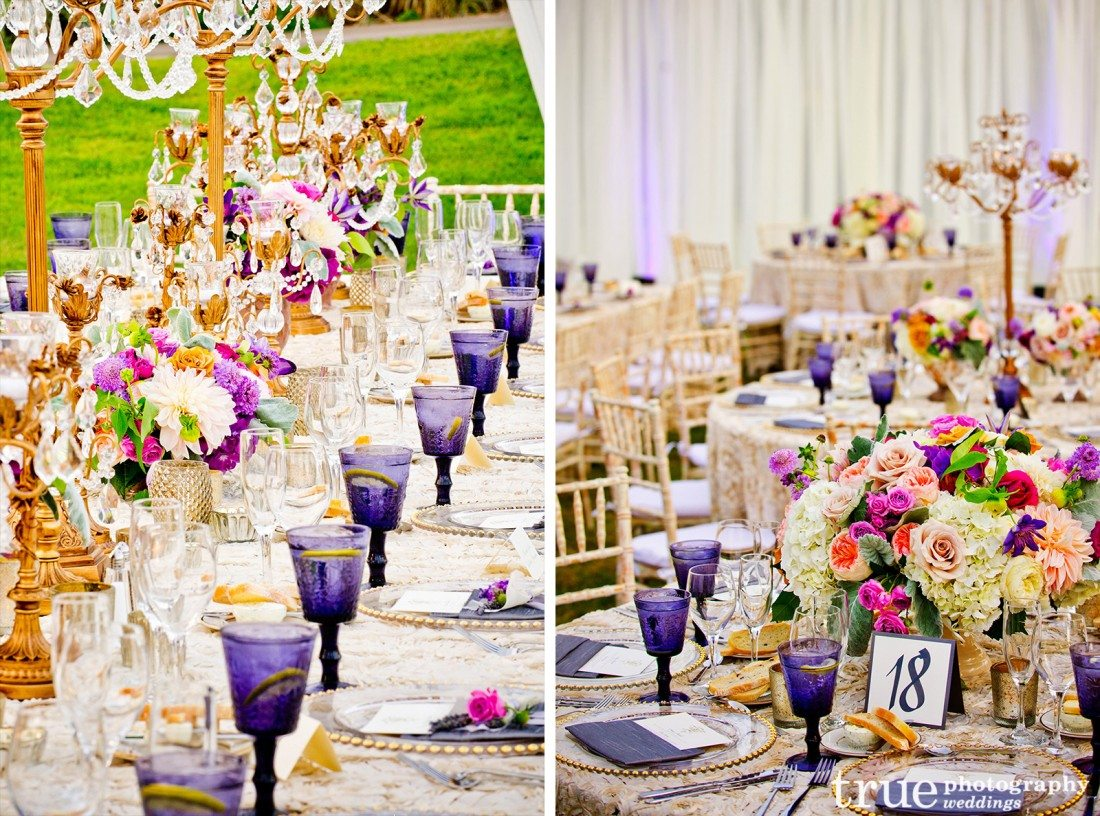 Colored-Glassware-for-San-Diego-Wedding