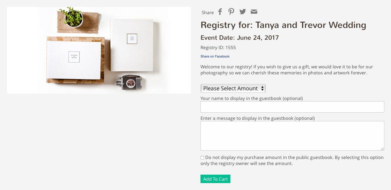 example of wedding photography registry