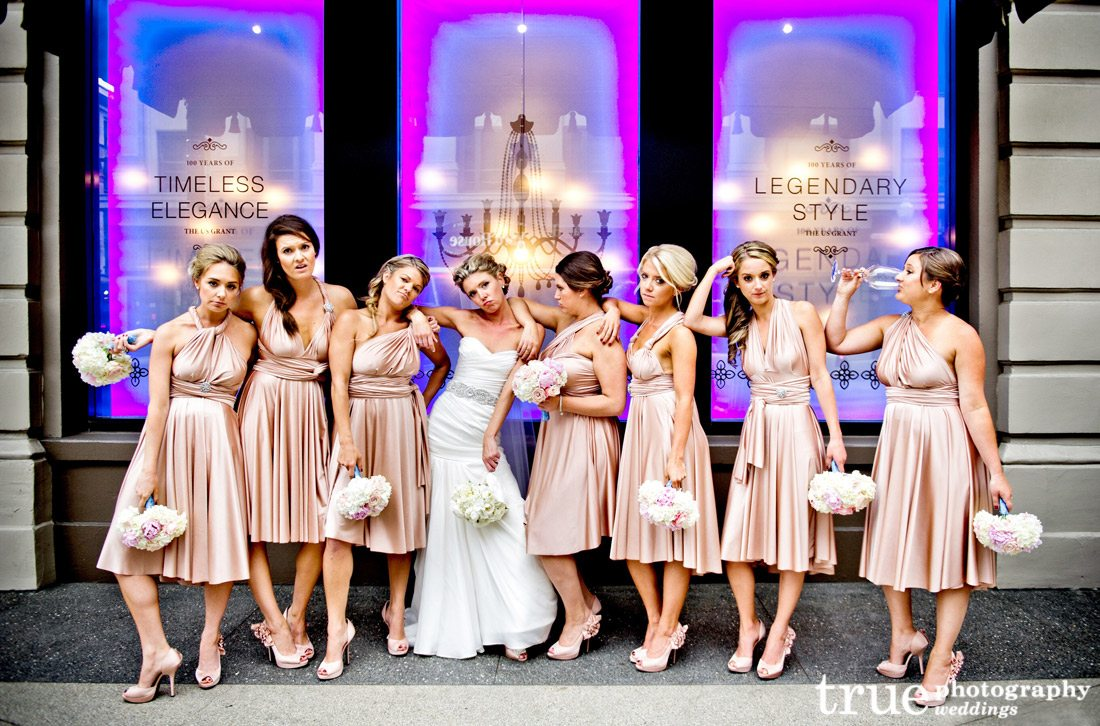 Metallic-Bridesmaids-dresses-