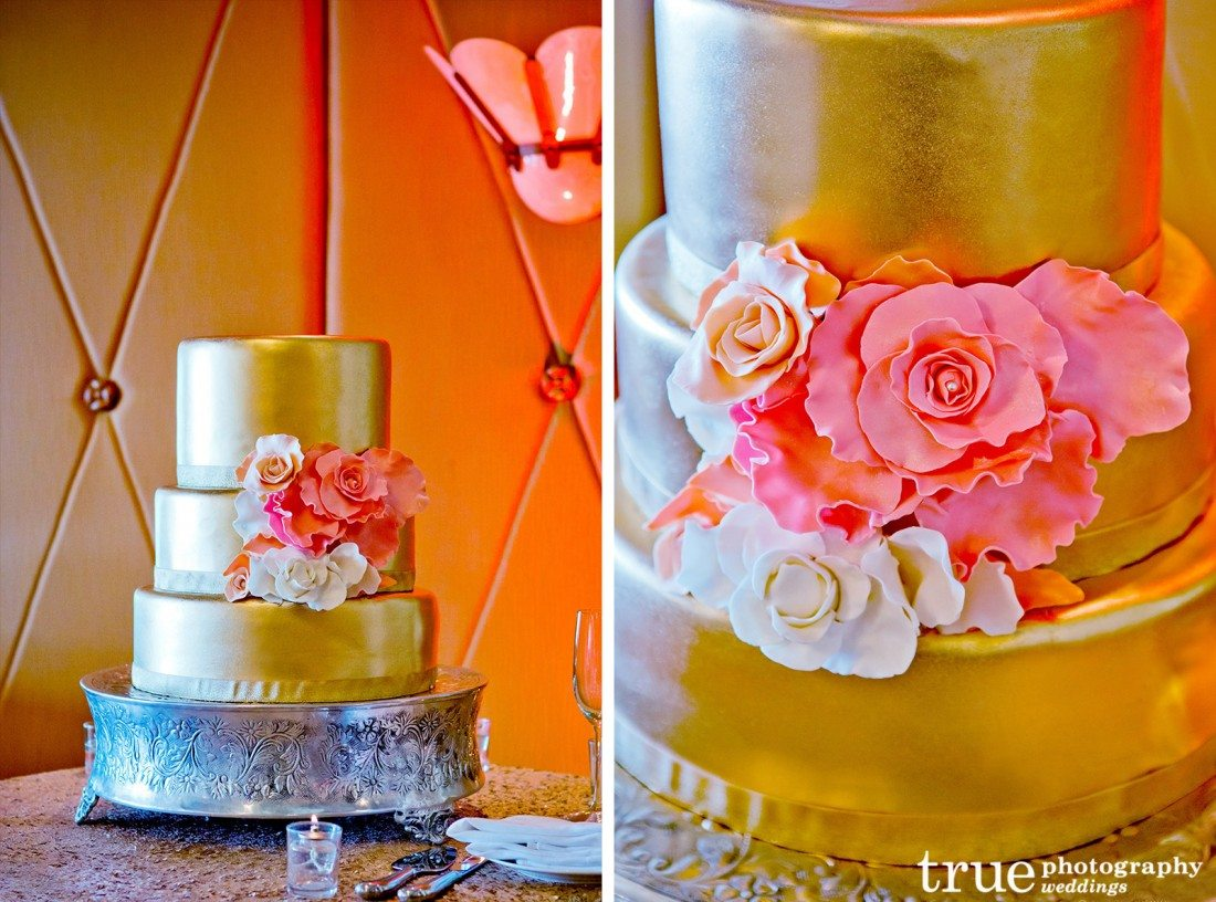 Gold-Wedding-Cake-with-Flowers