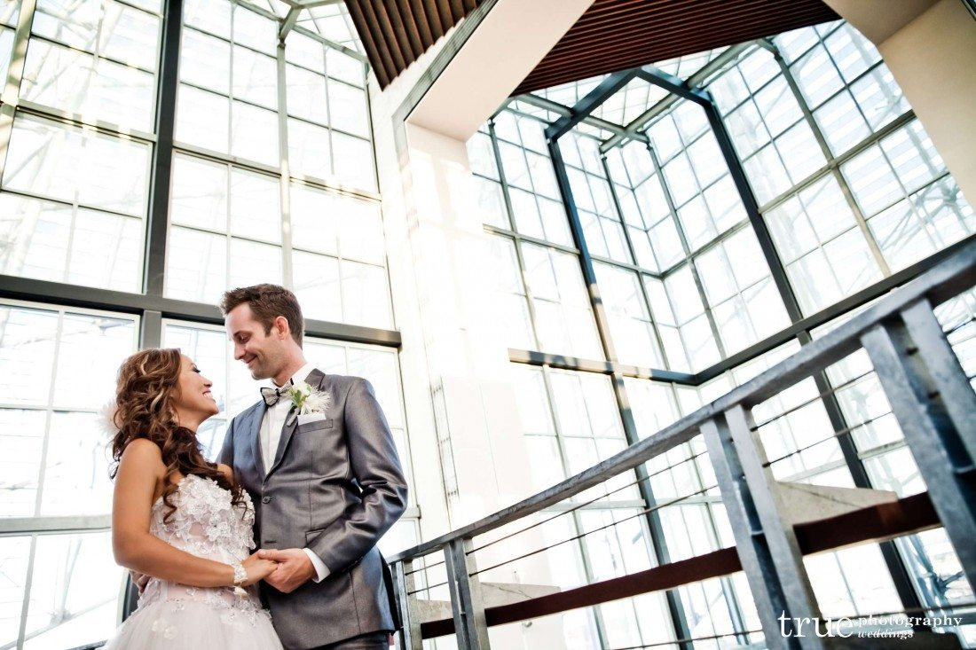 modern architecture wedding photo