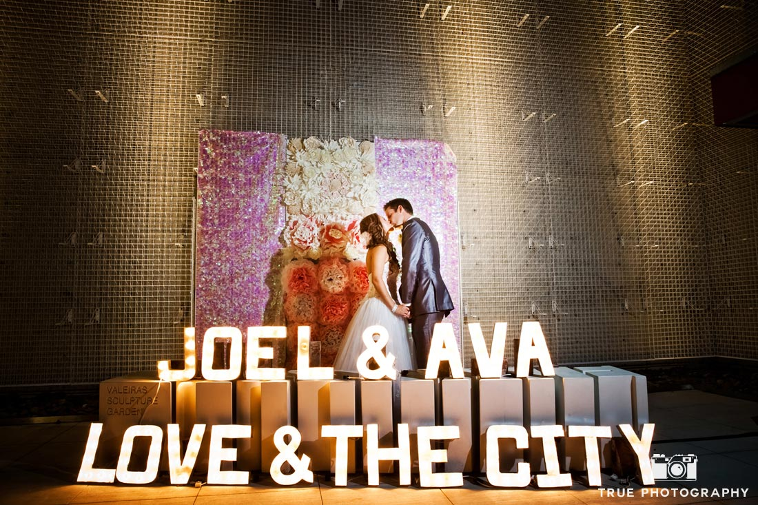 light up marquee letters at night wedding