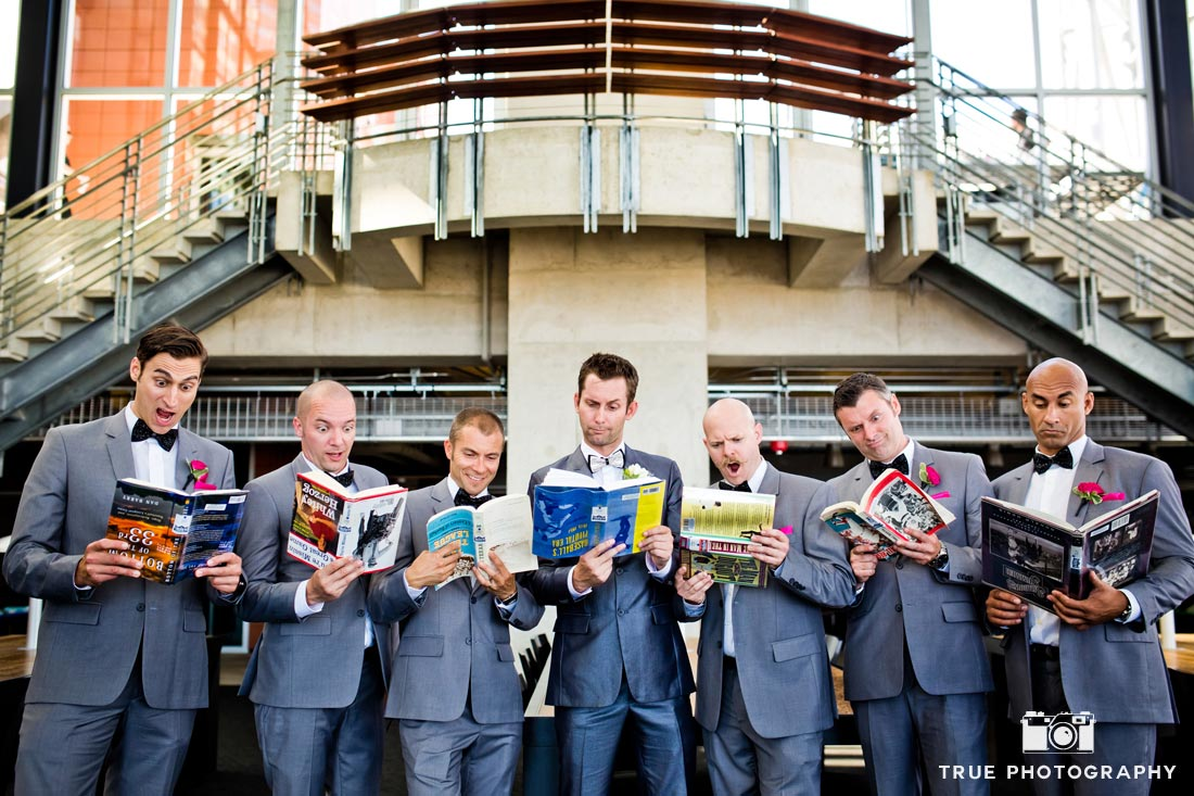 funny groomsmen photo reading books