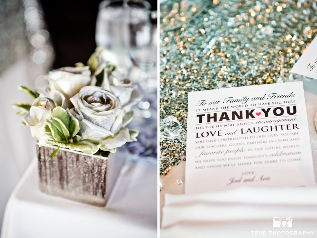 silver metallic wedding details