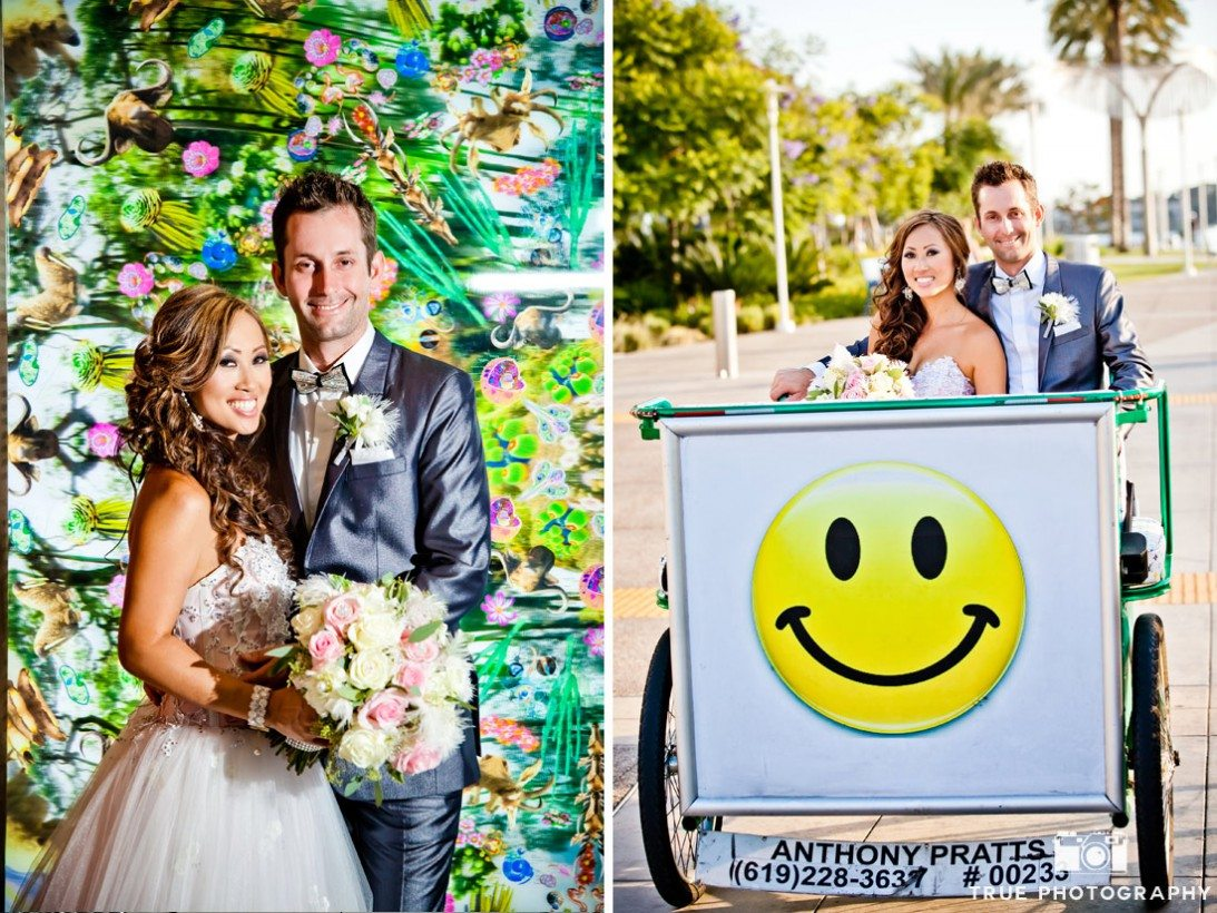 colorful wedding portraits San Diego Central library