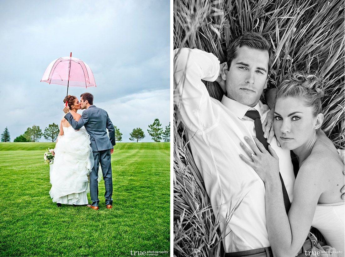 Denver bride Sandra with a beautiful pink parasol