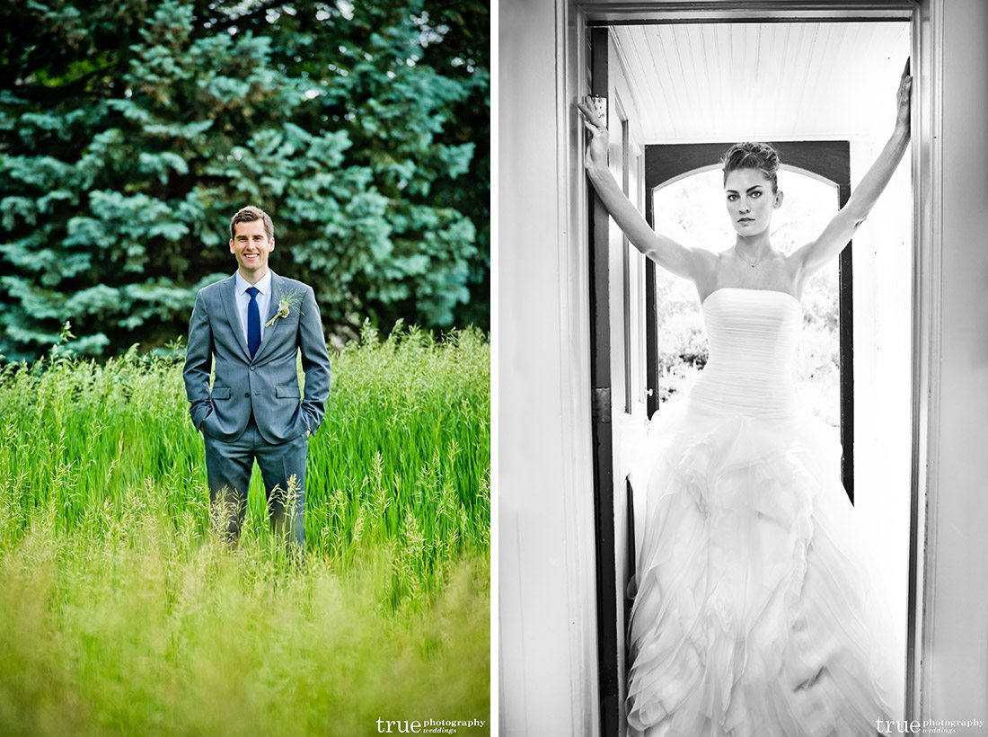 groom standing in field, b&w of bride in doorway Denver Botanic Gardens