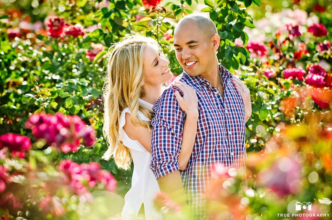 engagement shoot flower field