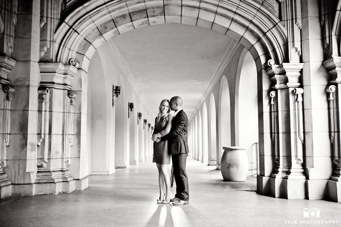 engagement balboa park archway b&w