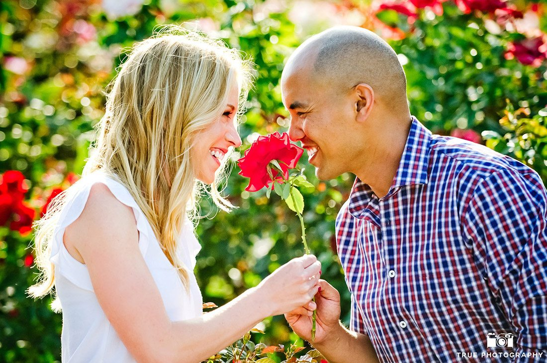 Engagement Lauren Ryan red flower photo