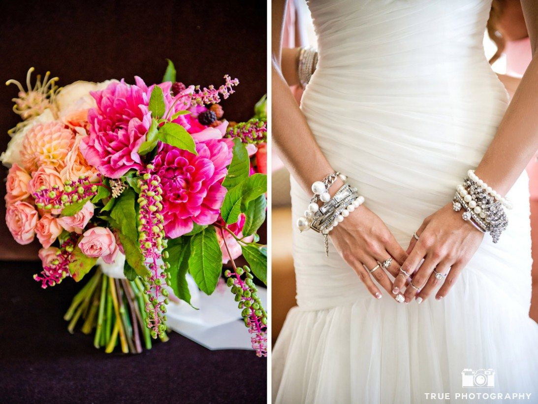 collage of flowers and bridal jewelry