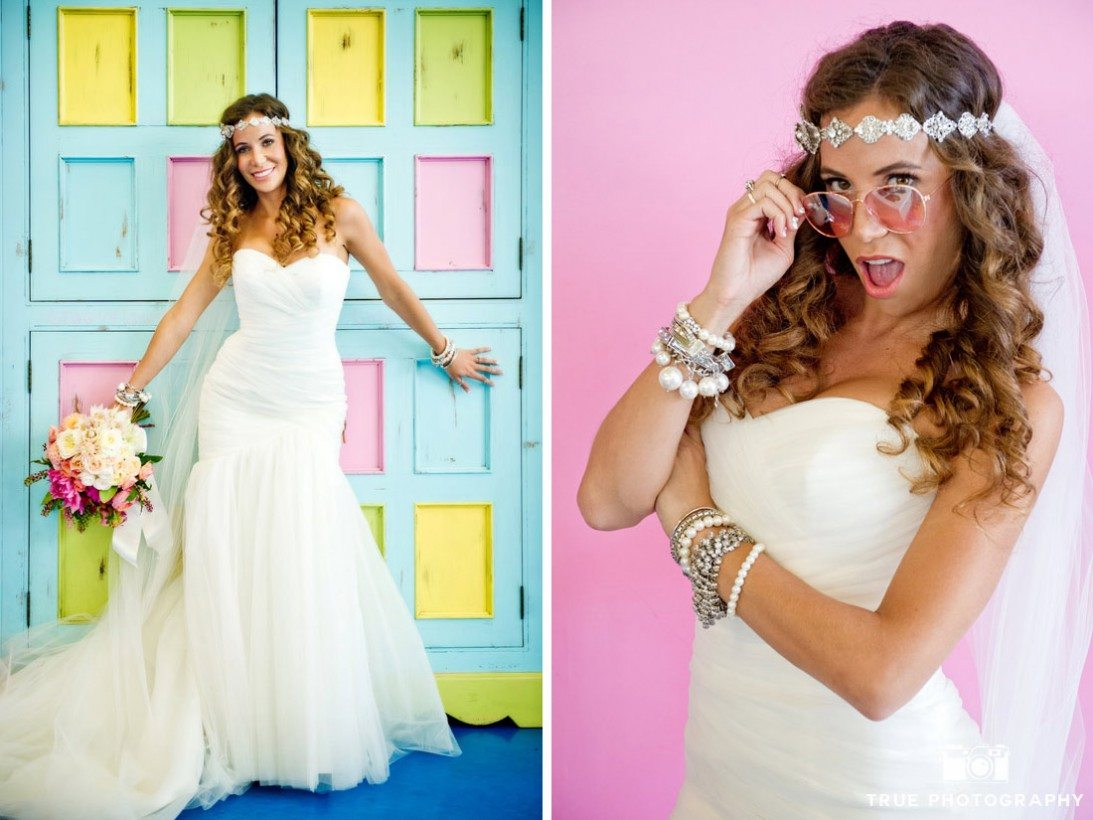 bride standing in front of bright color backdrops