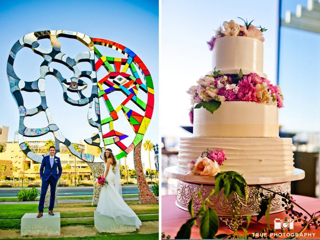collage of colorful sculpture and traditional wedding cake