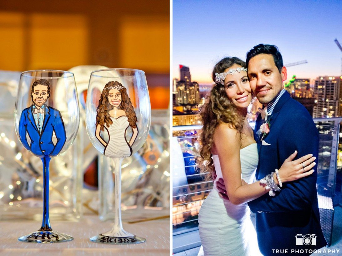 cariacature of bride and groom on glass and the couple themselves