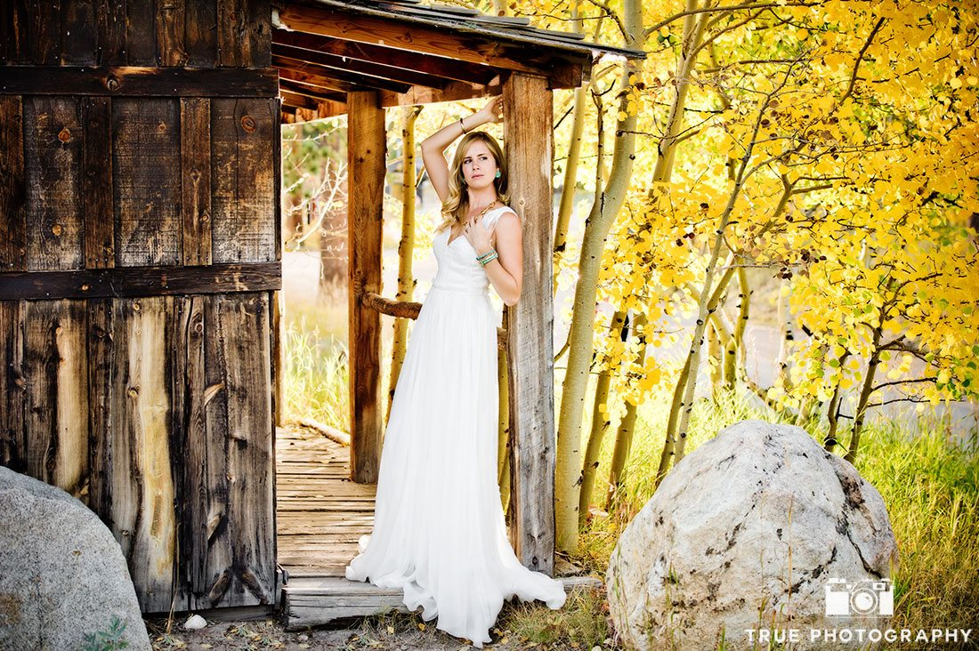 rustic wooden structure bridal photo shoot