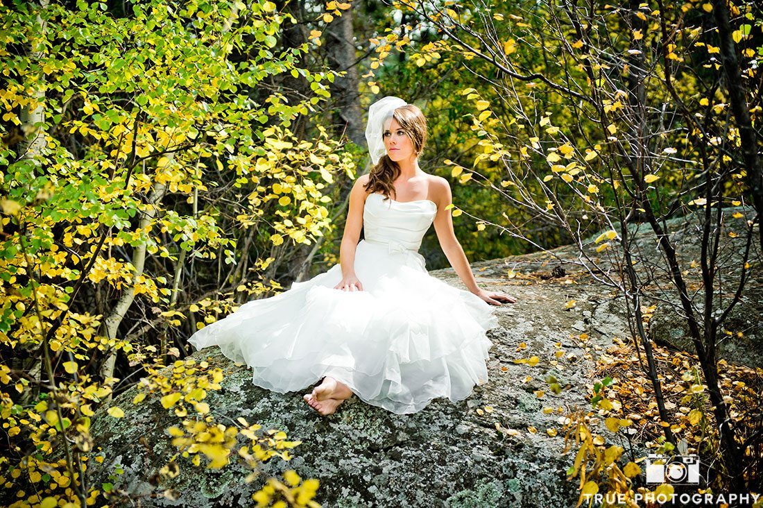 photo shoot of bride in natural surrounding