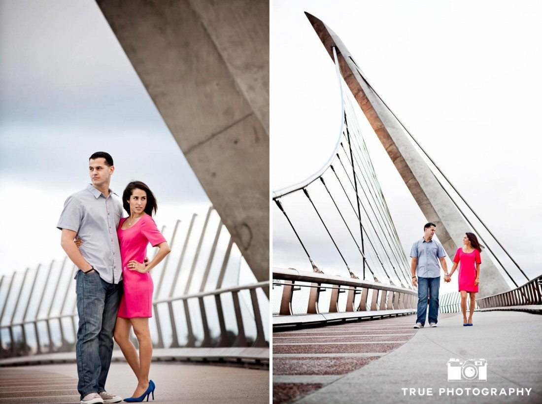 engaged couple on Harbor Drive Pedestrian Bridge