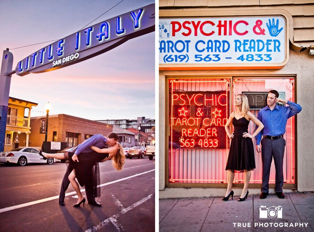 Little Italy Engagement shoot couple under sign and by psychic