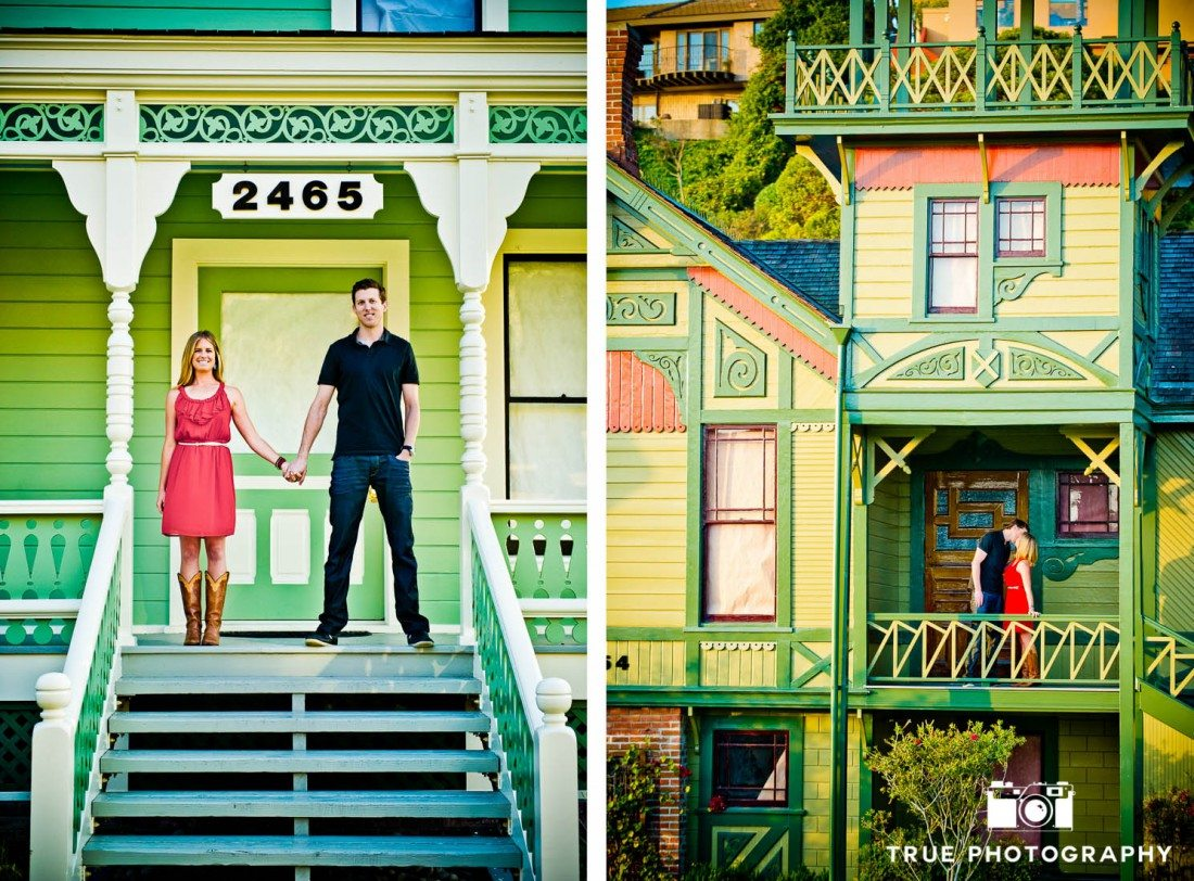 engagement photo shoot of Old Town Couple in front of colorful house