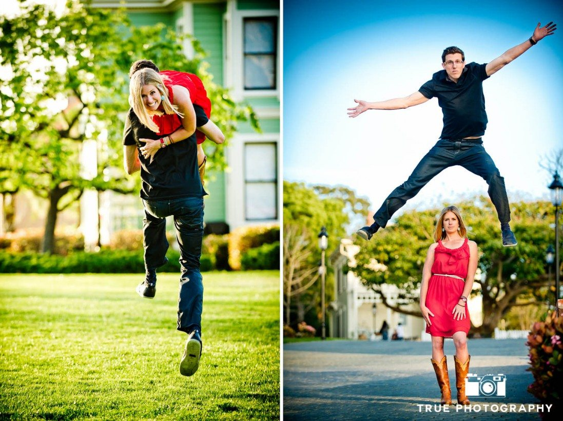 engagement photo shoot of Old Town Couple jumping around