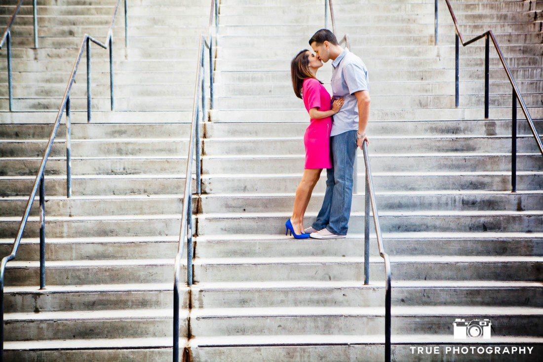 photo of couple on stairs at Harbor Drive Pedestrian Bridge