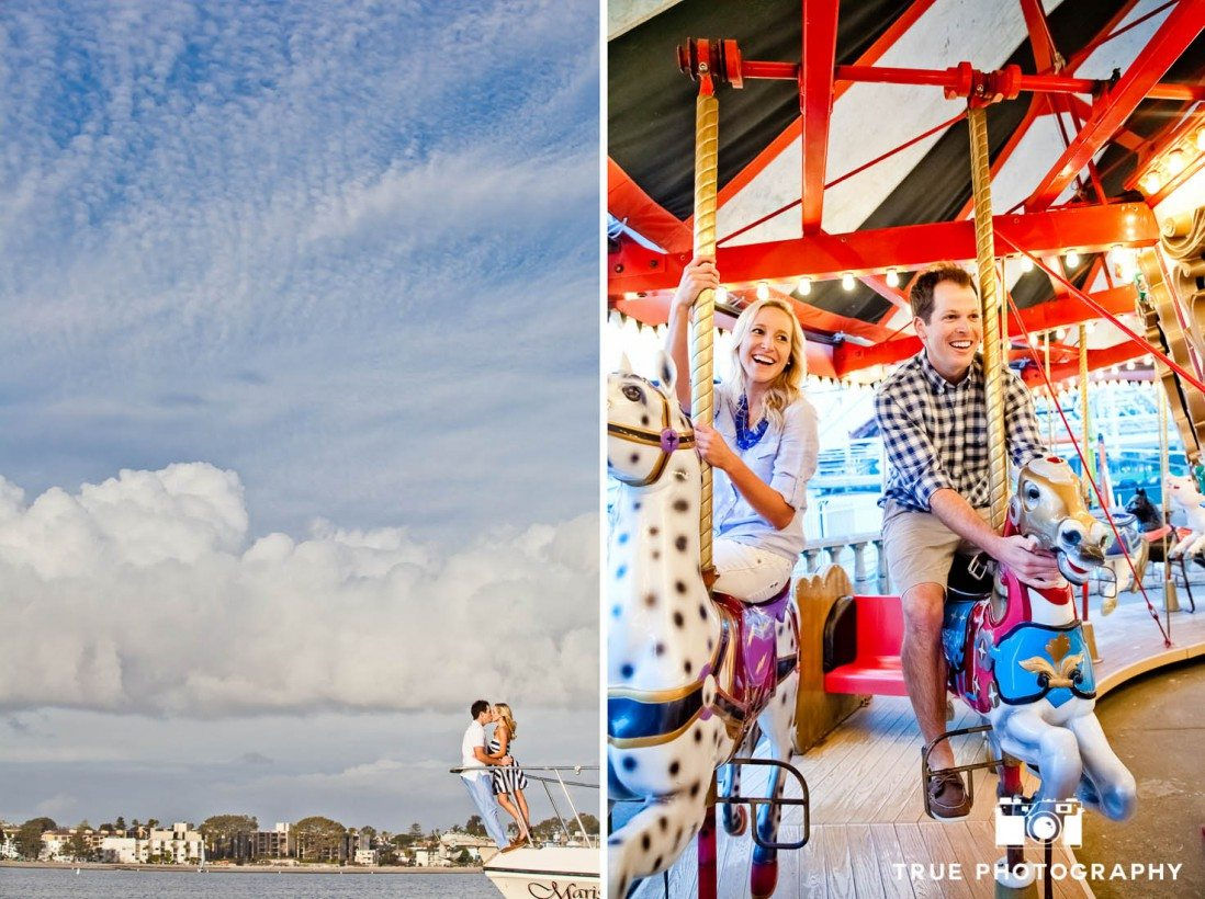 Engagement photo shoot of Mission Beach couple at the shore and riding on carousel