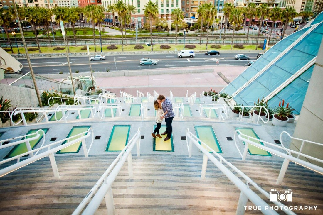 engagement photo shoot on stairs at San Diego Convention Center