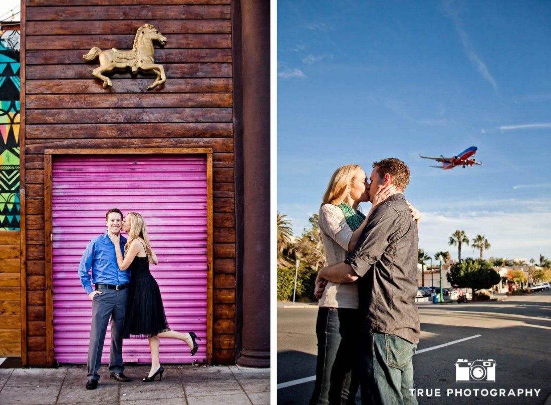 Little Italy Engagement shoot couple at purple gate