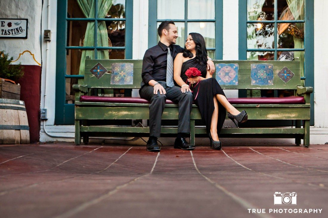 Old Town engagement shoot of couple sitting on bench