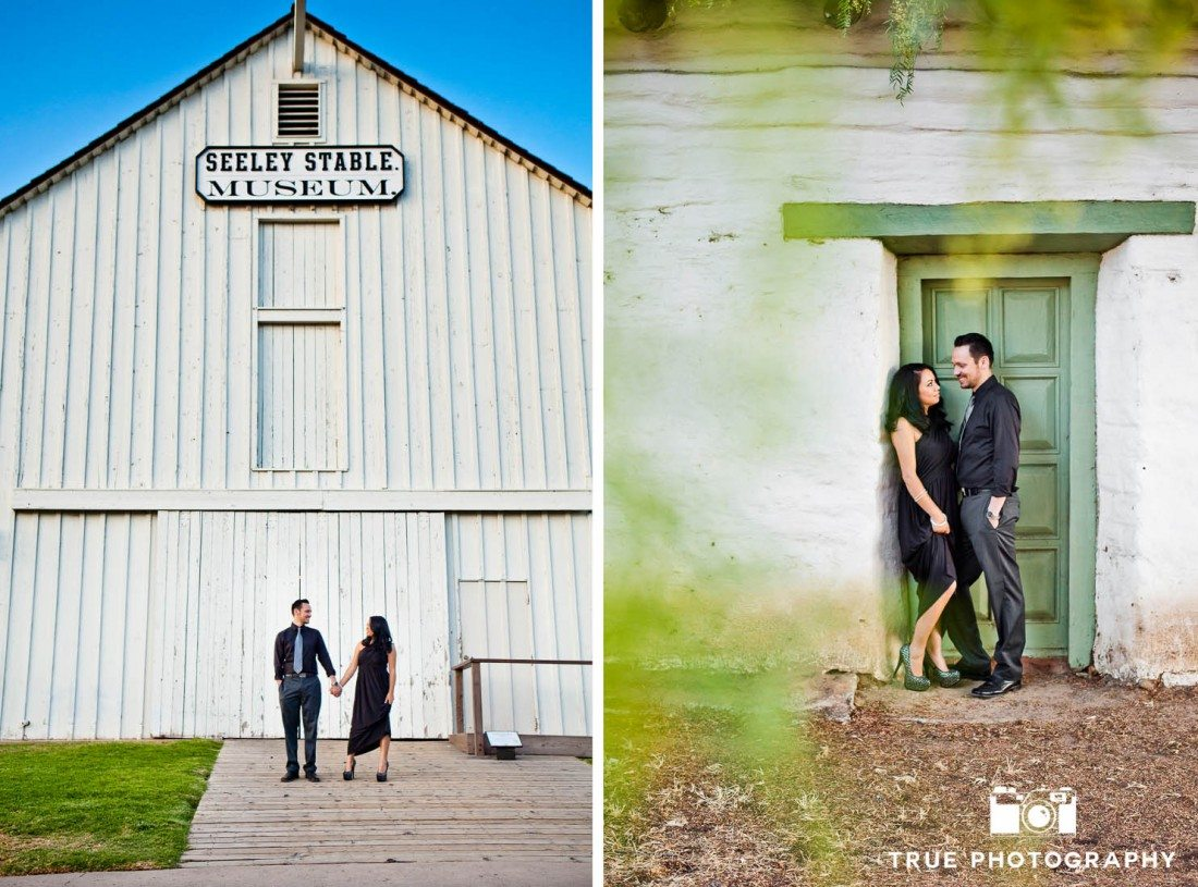 Old Town engagement shoot of couple standing in front of white building