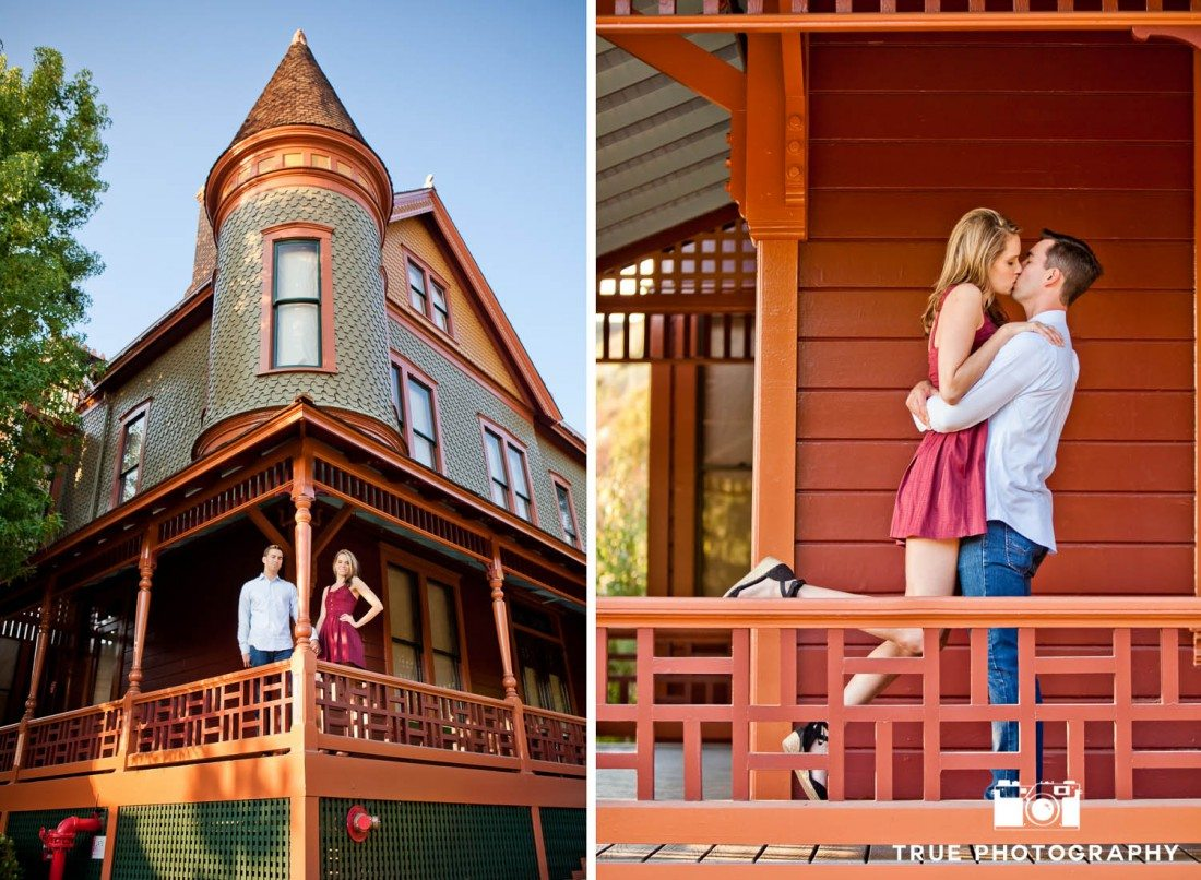 Old Town engagement shoot of couple  near colorful railing