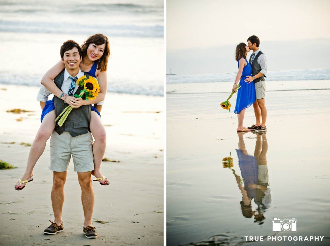 Engagement photo shoot of Mission Beach couple relaxing on the sand