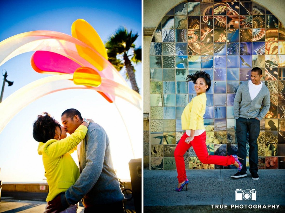 Engagement photo shoot of Mission Beach couple with colorful textures