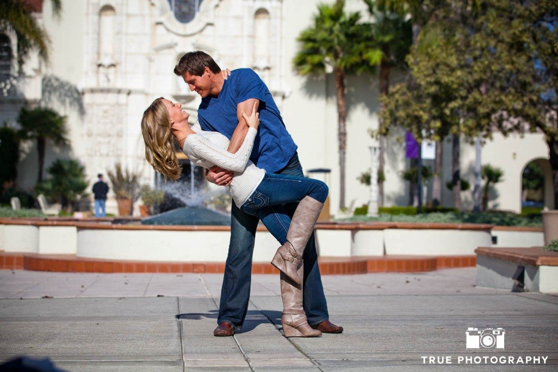 Engagement Photo Shoot of Couple embracing on USD Campus
